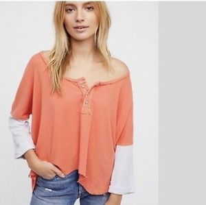 Free People NWT Coral Star Henley Top